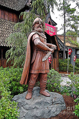 Digital Art - Viking Statue Norway Pavilion Epcot Walt Disney World Prints Poster Edges by Shawn O'Brien