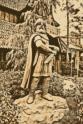 Photograph - Viking Statue Norway Pavilion Epcot Walt Disney World Prints Rustic by Shawn O'Brien