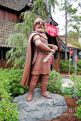 Photograph - Viking Statue Norway Pavilion Epcot Walt Disney World Prints by Shawn O'Brien
