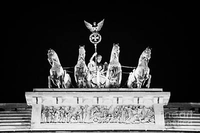 viktoria with quadriga on top of the Brandenburg gate at night Berlin Germany Art Print by Joe Fox