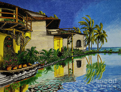 Ocean Sunset Drawing - Villa Del Sol by Robert Thornton