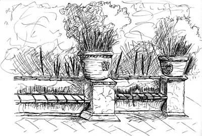 World Heritage Site Drawing - Villa D'este by Elizabeth Thorstenson