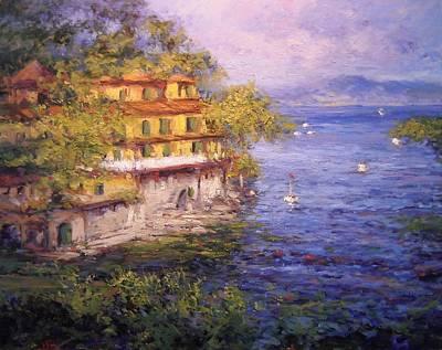 Villa Near Portofino Italy Original by R W Goetting