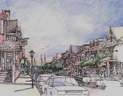 Streetscape Drawing - Village by Andrew Drozdowicz