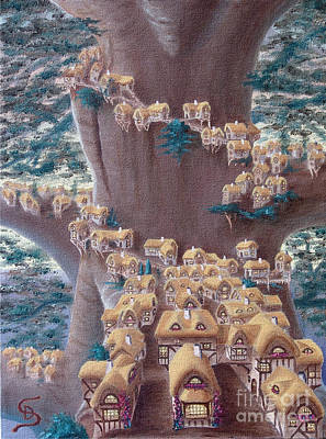 Print featuring the painting Village In A Tree From Arboregal by Dumitru Sandru