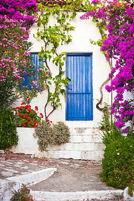 Village In Greece Print by Tom Gowanlock