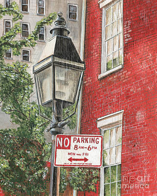 Brick Painting - Village Lamplight by Debbie DeWitt