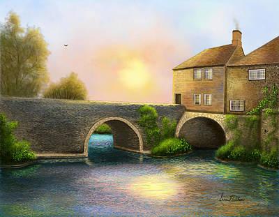 Village On The River Art Print