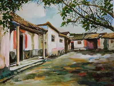 Row Homes Painting - Village Row by Min Wang