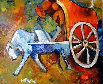 Bullock-cart Painting - Villager On Cart by Megha Nema
