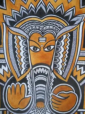 Indian Tribal Art Drawing - Vinayaka by Paritosh Pal