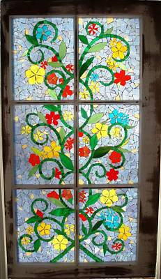 Glass Art - Vine Mosaic by Liz Lowder