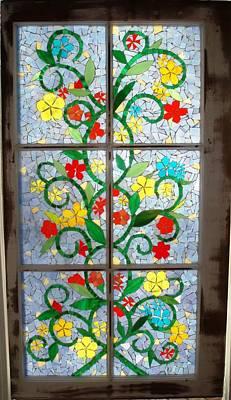 Glass Art - Vine Mosaic by Liz Lowder