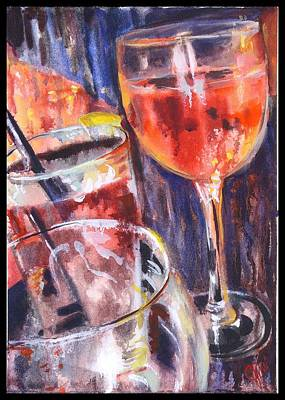 Cocktails Painting - Vino  by Jami Childers