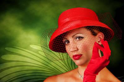 Vintage - Red Hat Lady Art Print