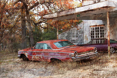 Old Houses Digital Art - Vintage 1950 1960 Ford Galaxy Red Car Photo by Svetlana Novikova