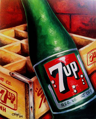 Painting - Vintage 7up Bottle by Terry J Marks Sr