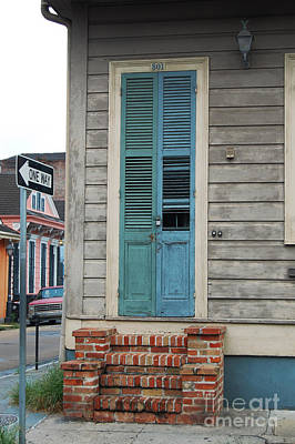 Vintage Aged Dual Color Slatted Wooden Door And Brick Stoop French Quarter New Orleans  Art Print by Shawn O'Brien