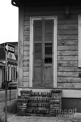 Vintage Aged Wooden Door And Brick Stoop French Quarter New Orleans Black And White Art Print by Shawn O'Brien