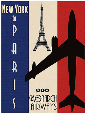 Travel Poster Painting - Vintage Air Travel Paris by Cinema Photography