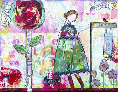 Fabric Mixed Media - Vintage Angel by Diana Cox