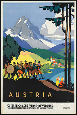 Photograph - Vintage Austrian Travel Poster by George Pedro