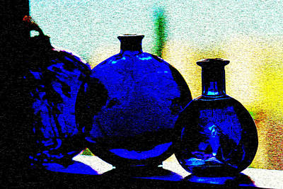 Photograph - Vintage Blue Bottles by Marie Jamieson
