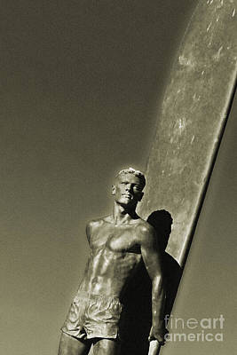 Surfer Photograph - Vintage Bronze Surfer by Paul Topp