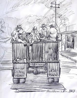 Telephone Poles Drawing - Vintage Car Pool by Bill Joseph  Markowski