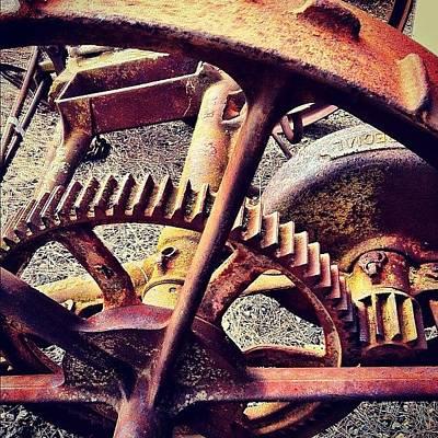 Machine Photograph - #vintage #cart #wheel #rusty #farm by Glen Offereins