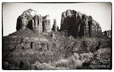 Brown Tones Photograph - Vintage Cathedral Rock by John Rizzuto