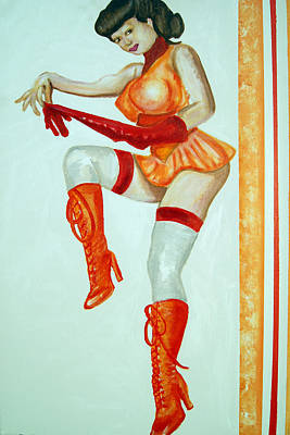 Painting - Vintage Cheerleader by Ottoniel Lima and Lorinda Fore