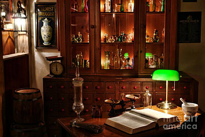 Chemical Photograph - Vintage Chemist Desk In Apothecary Shop by Olivier Le Queinec