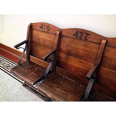 Ohio Photograph - Vintage Courthouse Seats by Natasha Marco