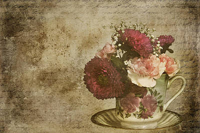 Mixed Media - Vintage Cup Of Flowers by Trudy Wilkerson