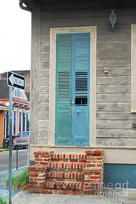 Digital Art - Vintage Dual Color Wooden Door And Brick Stoop French Quarter New Orleans Accented Edges Digital Art by Shawn O'Brien