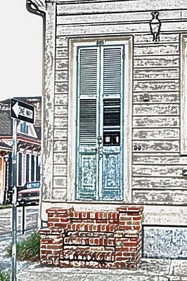 Vintage Dual Color Wooden Door And Brick Stoop French Quarter New Orleans Colored Pencil Digital Art Art Print by Shawn O'Brien