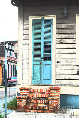 Vintage Dual Color Wooden Door And Brick Stoop French Quarter New Orleans Film Grain Digital Art Art Print by Shawn O'Brien