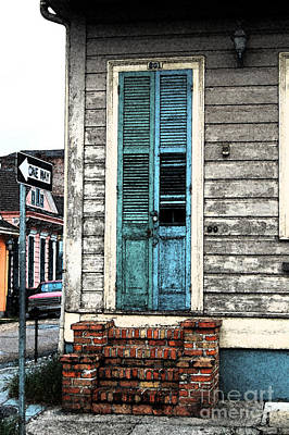 Vintage Dual Color Wooden Door And Brick Stoop French Quarter New Orleans Fresco Digital Art Art Print by Shawn O'Brien