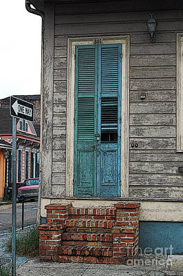 Vintage Dual Color Wooden Door And Brick Stoop French Quarter New Orleans Posteredges Digital Art Art Print by Shawn O'Brien