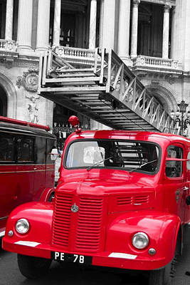 Photograph - Vintage Fire Truck Duo Tone by Tony Grider