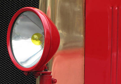 Photograph - Vintage Fire Truck Headlight by Tony Grider