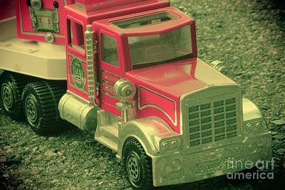 Toy Truck Photograph - Vintage Fire Truck Toy by Sophie Vigneault