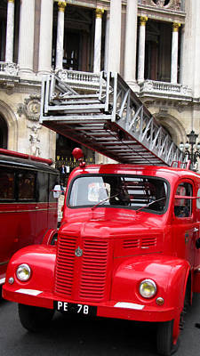 Photograph - Vintage Fire Truck With Ladder by Tony Grider
