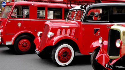 Photograph - Vintage Fire Trucks Trio by Tony Grider