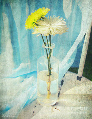 Austin Mixed Media - Vintage Flowers In A Bottle Vase Sunny Still Life Print by Svetlana Novikova