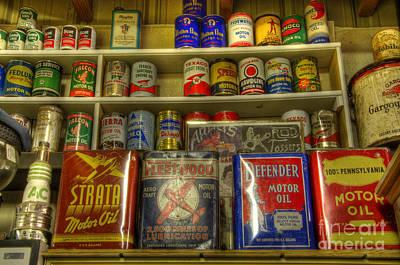 Vintage Garage Oil Cans Art Print by Bob Christopher