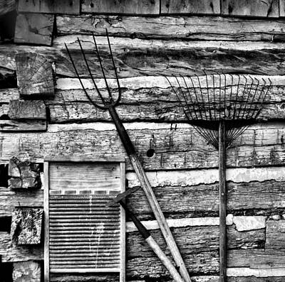 Cabin Wall Photograph - Vintage Garden Tools Bw by Linda Phelps