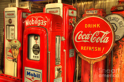 Coca-cola Sign Photograph - Vintage Gasoline Pumps 2 by Bob Christopher