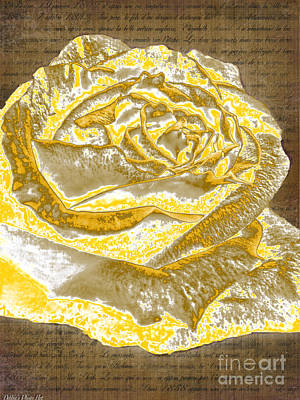Digital Art - Vintage Gold Rose by Debbie Portwood